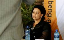 Madibeng Mayor Poppy Magongwa at the momorial service for three men killed in service delivery protests in Mothutlung last week. Picture: EWN.