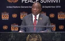President Cyril Ramaphosa addresses the UN General Assembly on 24 September 2018 during the Nelson Mandela Peace Summit in New York. Picture: @PresidencyZA/Twitter
