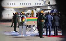 The coffin of former Zimbabwean President Robert Mugabe at the Robert Gabriel Mugabe International Airport in Harare on 11 September 2019. Picture: Thomas Holder/EWN.