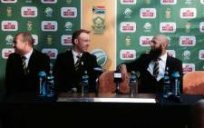 FILE. Russell Domingo, Hashim Amla and AB De Villiers at OR Tambo this morning before their departure to Zimbabwe. Picture: Mark Lewis/EWN