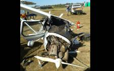 One man died after an aircraft crashed at the Kitty Hawk Aerodrome in Pretoria on 12 May 2016. Picture: @NetCare911 via Twitter.