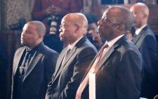 Deputy President Cyril Ramaphosa (R) and President Jacob Zuma (C) at the funeral of Ronnie Mamoepa. Picture: Hitekani Magwedze/EWN.