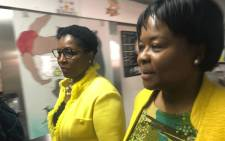 Public Service and Administration Minister Ayanda Dlodlo (left) pictured with Gauteng Health MEC Gwen Ramokgopa (right) at the Rahima Moosa Mother and Child Hospital, on 13 August 2018. Picture: Mia Lindeque/EWN.