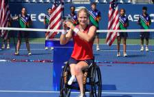Diede de Groot completes the first Golden Slam in wheelchair tennis. Picture: @TennisHalloFame/Twitter.