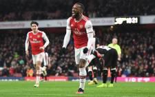 Arsenal's Alexandre Lacazette celebrates his goal. Picture: @Arsenal/Twitter