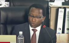 A screengrab of Siyabonga Mahlangu, the former advisor to Cabinet minister Malusi Gigaba, appearing at the state capture inquiry in Johannesburg on 23 October 2020. Picture: SABC/YouTube