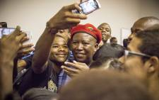 EFF leader Julius Malema posed for several selfies at Stellenbosch University. Picture: Thomas Holder/EWN.