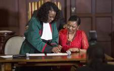 Newly appointed  Minister of Home Affairs Hlengiwe Mkhize takes her oath during the swearing-in ceremony of President Jacob Zuma's new cabinet in Pretoria on 31 March 2017. Picture: Reinart Toerien/EWN