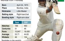 Profile of Sachin Tendulkar, who will play his 200th and final cricket Test in Mumbai from Thursday 14 November 2013. Picture: AFP