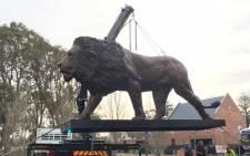 Bruce Little's lion sculpture. Picture: Facebook.