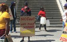 Khayelitsha residents protest outside the Cape Town Civic Centre on 25 March 2020. Picture: Jarita Kassen/EWN