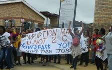 River Park residents protest in front of the River Park Clinic in Alexandra, Johannesburg. Picture: @CliffShiko/Twitter