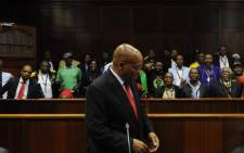 FILE: Former South African president Jacob Zuma in the dock at the Durban High Court on 6 April 2018 for a preliminary hearing related to charges of fraud, corruption and racketeering. Picture: Felix Dlangamandla/Pool Photo