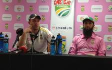 FILE:The Proteas' AB de Villiers and Hashim Amla during a press conference at the Wanderers Stadium in Johannesburg on 18 March, 2013. Picture: Marc Lewis/EWN.
