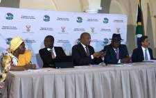 FILE: A media briefing led by COGTA Minister Nkosazana Dlamini-Zuma, who is joined by Justice Minister Ronald Lamola, Minister in the Presidency Jackson Mthembu, Police Minister Bheki Cele and Trade and Industry Minister Ebrahim Patel. Picture: Bonga Dlulane/Eyewitness News.