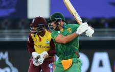 Aiden Markram got his half-century off just 25 deliveries and brought it up with a massive six on 26 October 2021 against the West Indies. Picture: @OfficialCSA/Twitter.