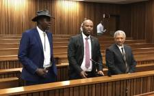 Former Hawks officials Leslie Maluleke, Shadrack Sibiya and Anwa Dramat appear in the Pretoria High Court on 8 October 2018. Picture: Barry Bateman/EWN