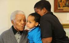 Nelson Mandela at his home in Qunu with his family.