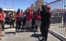 The Economic Freedom Fighters lead a protest in Strandfontein against gang violence on 4 January 2019. Picture: Kaylynn Palm/EWN