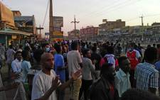 A picture taken on 15 January 2019 shows anti-government demonstrators in the Sudanese capital Khartoum's southern business district of El-Kalakla. Picture: AFP