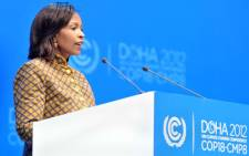 International Relations Minister Maite Nkoana-Mashabane addressing the COP18 conference during the opening session in Doha, Qatar. Picture: GCIS.