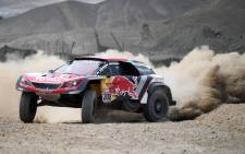 Peugeot's Cyril Despres gets sideways during the Dakar Rally on 7 January, 2018. Picture: AFP