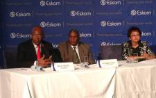 Eskom's chairperson Zola Tsotsi (L) with board members Zethemba Khoza and Veletie Klein at the special media briefing on 12 March 2015. Picture: EWN