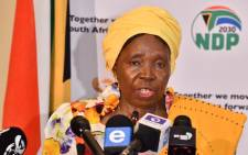 Cooperative Governance Minister Nkosazana Dlamini-Zuma at a briefing on the coronavirus in Pretoria on 19 March 2020. Picture: @PresidencyZA/Twitter