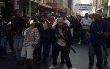 Taxi drivers demonstrating against a lack of action against the ongoing taxi conflict in and around Prince George Drive. Picture: Lauren Isaacs/EWN.