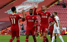 Liverpool players celebrate a goal against Leeds United during their English Premier League match on 12 September 2020 at Anfield in Liverpool, England. Picture: @LFC/Twitter