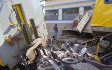 Wreckage of two trains that collided at Denver Station, south east of Johannesburg on 28 April 2015. Picture: Louise McAuliffe/EWN.
