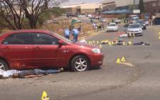 The scene of a shootout between suspected robbers and Metro Police in Germiston. Picture: Govan Whittles/EWN