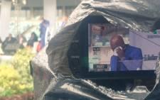 Actor Menzi Ngubane speaking at Sfiso Ncwane's funeral at the Moses Mabhida Stadium in Durban. Picture: Kgothatso Mogale/EWN.