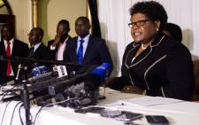Leader of the Zimbabwe People First party and former Zimbabwe vice president Joice Mujuru speaks during a press conference to officially launch her political party on 1 March 2016 in Harare. Picture: AFP.
