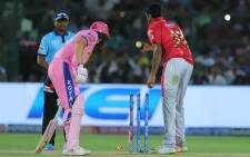 Kings XI Punjab captain Ravichandran Ashwin who, coming in to bowl in the Indian Premier League, checked his run as Rajasthan Royals batsman Jos Buttler left his crease, and whipped off his bails, in a dismissal known as a 'Mankad. Picture: Twitter/IPL