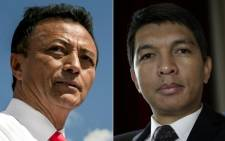 This combination of file pictures created on 17 November 2018, shows former presidents of Madagascar and main candidates in the country's 2018 presidential election, Marc Ravalomanana (L) in Antananarivo on August 25, 2018, Andry Rajoelina (R) in Paris on 1 February 2018. Picture: AFP