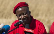 EFF leader Julius Malema speaks to the media at a press conference in Alexandra, north of Johannesburg, to give feedback on the party's coalition talks. Picture: Christa Eybers/EWN