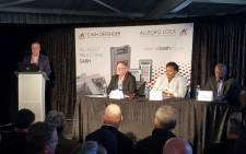 AllCash CEO Graeme King (left) addressing a Cash-in-transit Solutions Panel discussion, along with Gauteng Community Safety MEC Sizakele Nkosi-Malobane. Picture: Facebook.com