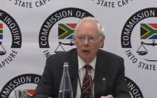 A screengrab of former Transnet strategy manager Francis Callard appearing at the Zondo commission of inquiry into state capture on 20 May 2019.