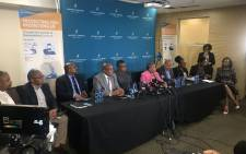 Ministers Fikile Mbalula, Pravin Gordhan and Aaron Motsoaledi and their deputies, DGs and ACSA staff and CAA at a briefing on the coronavirus measures being taken in the transport sector on 17 March 2020. Picture: Bonga Dlulane/EWN