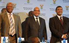 President Jacob Zuma accompanied by Minister in the Presidency Jeff Radebe and the ANC's Marius Fransman. Picture: GCIS.