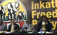 The IFP held a press briefing in Durban where it shared the outcomes of its policy review summit. Picture: Ziyanda Ngcobo/EWN
