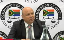 A YouTube screengrab shows former Bosasa chief financial officer Andries van Tonder at the state capture commission on 29 January 2019.