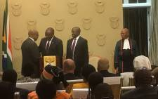 Deputy President David Mabuza, along with other Cabinet ministers including Blade Nzimande and Nhlanhla Nene, are sworn in by Chief Justice Mogoeng Mogoeng. Picture: Moeketsi Moticoe/EWN