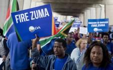 DA supporters march against President Jacob Zuma. Picture: Reinart Toerien/EWN.