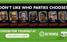 A screenshot of Action SA's election billboard.
