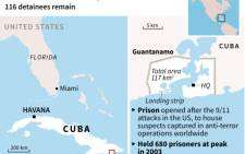 Map and fact file on the Guantanamo Bay US naval base, where 116 detainees remain.