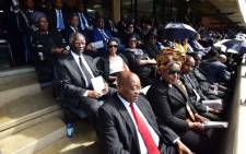 Former presidents Thabo Mbeki and Jacob Zuma attending the funeral service of Mama Winnie Madikizela-Mandela at Orlando Stadium on 14 April. Picture: GCIS