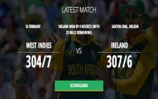 Cricket world cup score card