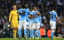 Manchester City players celebrate their victory against Paris St. Germain in the Uefa Champions League on 12 April 2016. Picture: Manchester City official Facebook page.